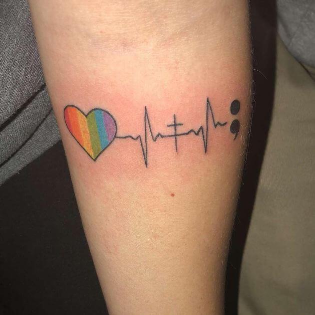 Semicolon Heartbeat Tattoo