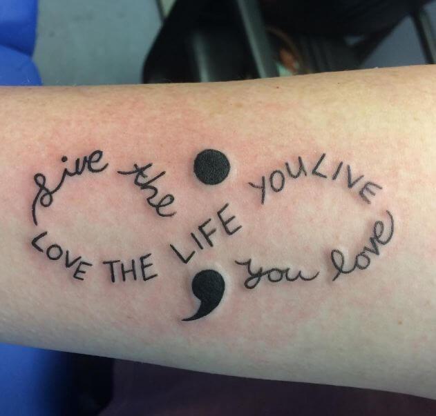 Semicolon Infinity Tattoo