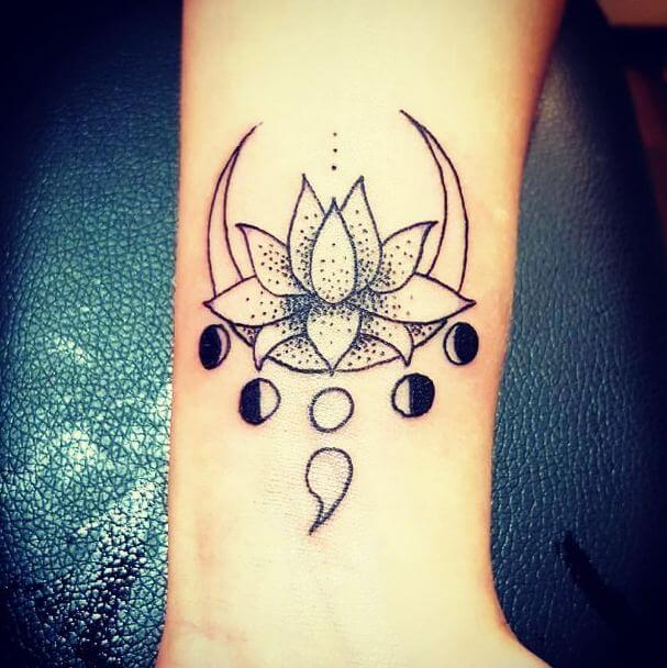 Semicolon Lotus Tattoo