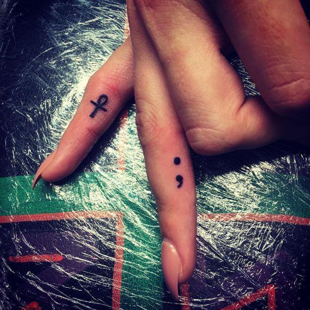 Semicolon Tattoo Finger