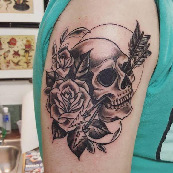 Skull With Arrow Tattoos