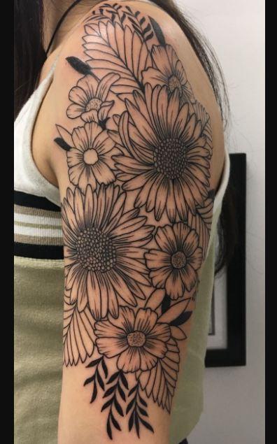 Sun Flowers Half Sleeve Tattoos
