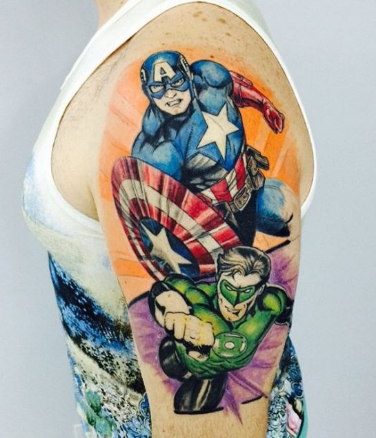 Superhero Half Sleeve Tattoos