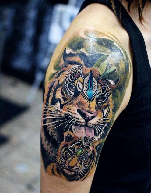 Tiger Half Sleeve Tattoos