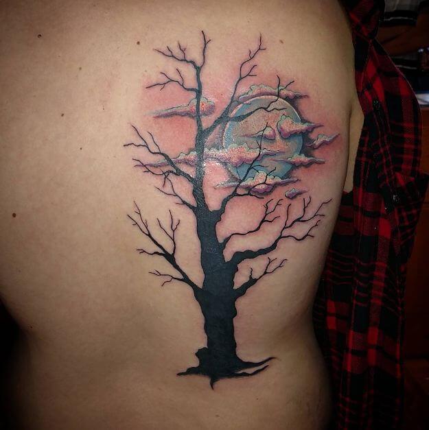Tree And Moon Tattoo