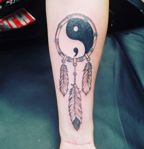 Yin Yang Semicolon Tattoo