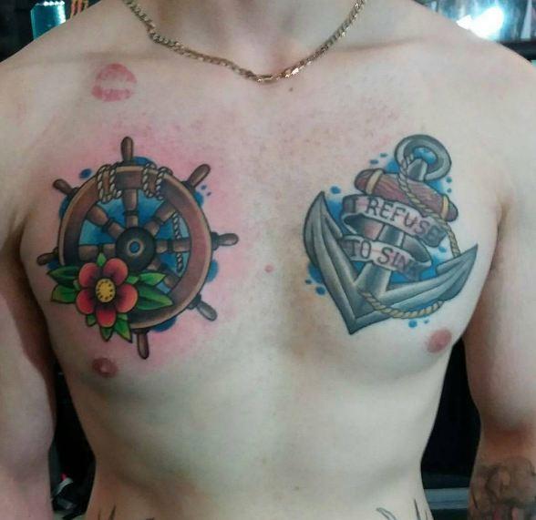 Anchor Chest Tattoos