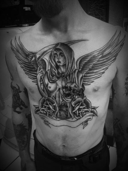 Angels Tattoos On Chest
