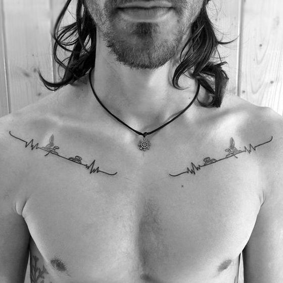 Collarbone Tattoos For Guys