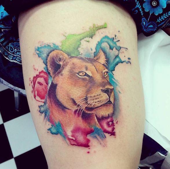 Colorful Lion Wildlife Tattoos