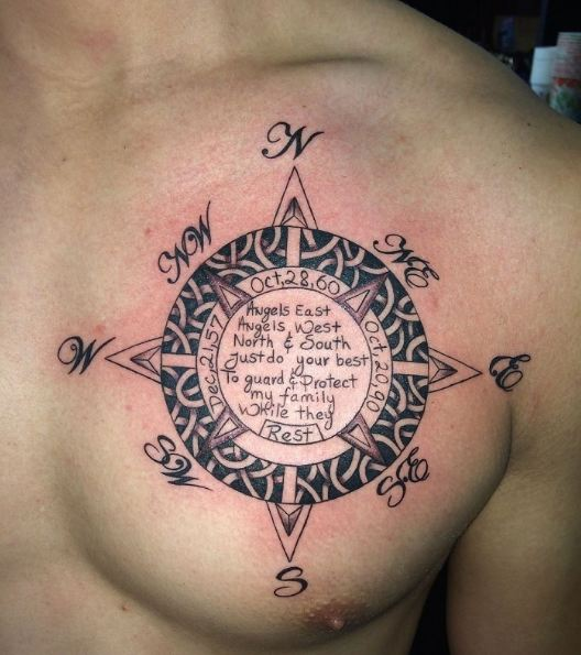 Compass Tattoos On Chest