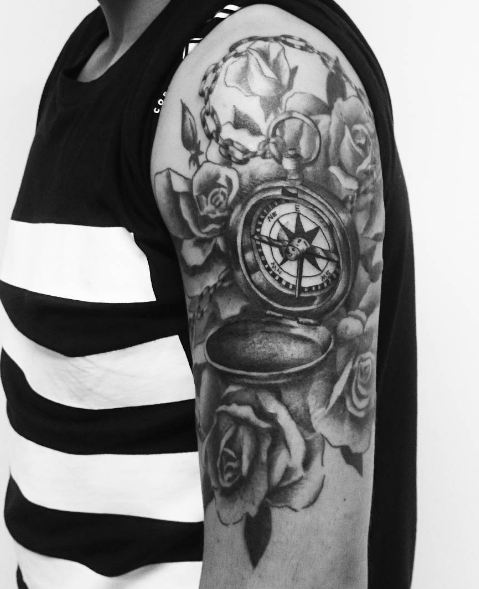 Compass Tattoos On Half Sleeve