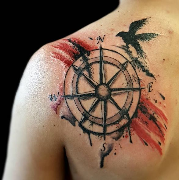 Compass Tattoos On Right Shoulder Front
