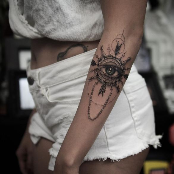 Eye With Compass Tattoos