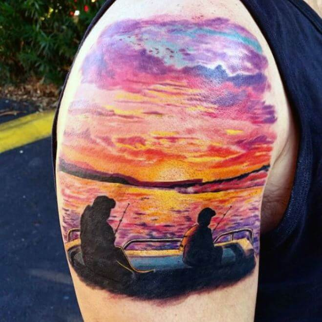Father And Son Fishing Tattoos