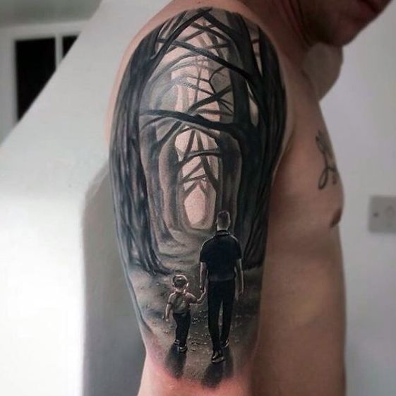 Father-Son Tattoos In Forest