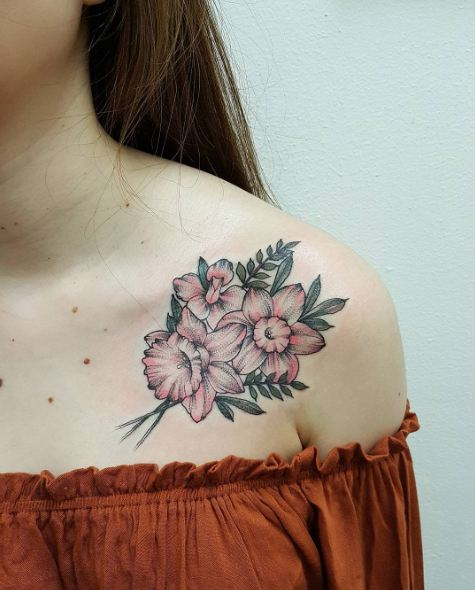 Floral Collar Bone Tattoos