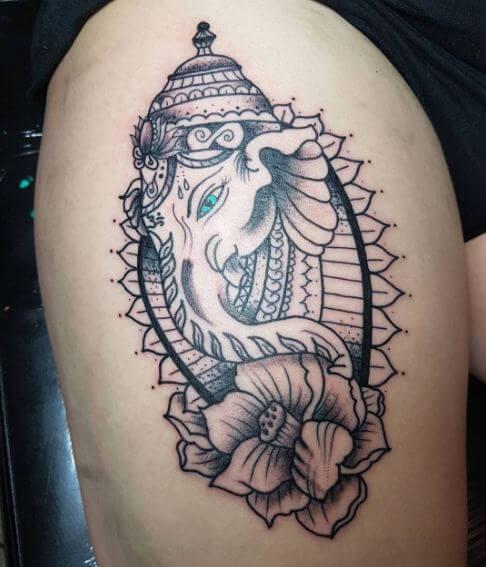 Flower With Ganesha Tattoos