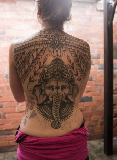 Ganesha Tattoos On Full Back