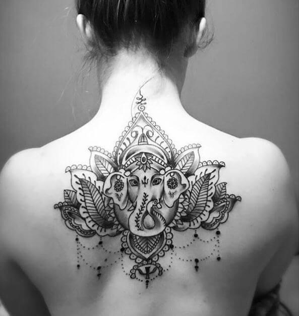 Ganesha Tattoos On Neck Back