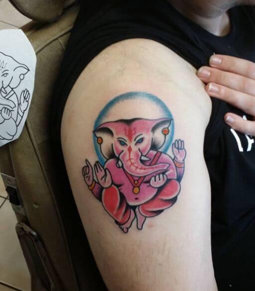 Ganesha Tattoos On Shoulder