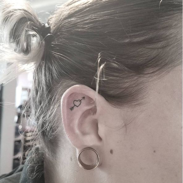 Heart With Arrow Ear Tattoos