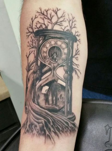 Hourglass With Father Son Tattoos