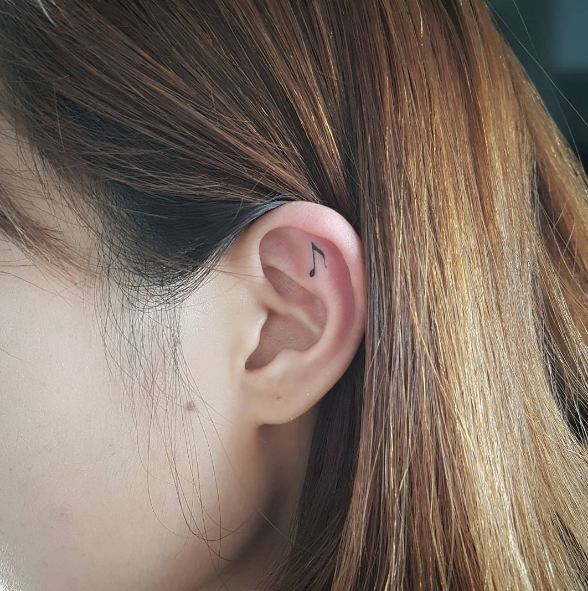 Music Sign Ear Tattoos