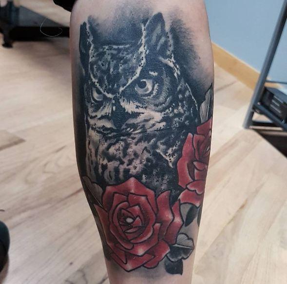 Owl With Rose Wildlife Tattoos