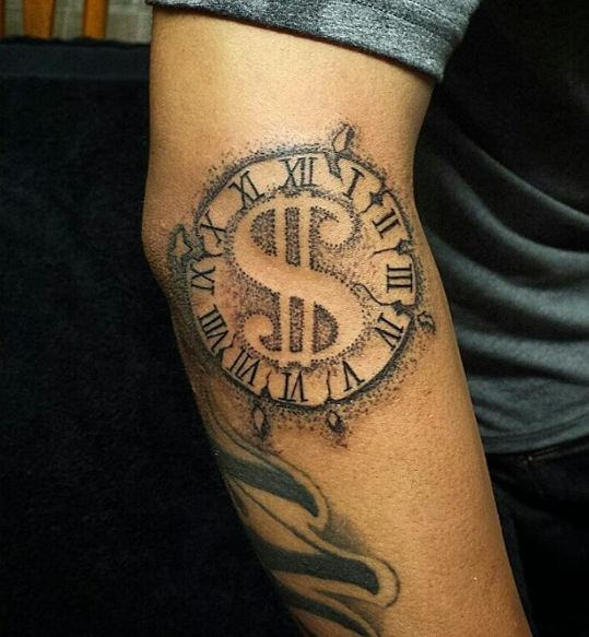 Roman Numerals Elbow Tattoos