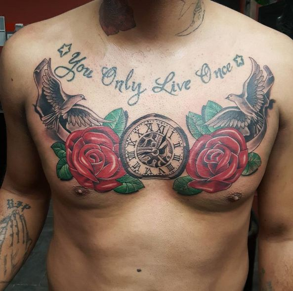 Rose Tattoos On Chest