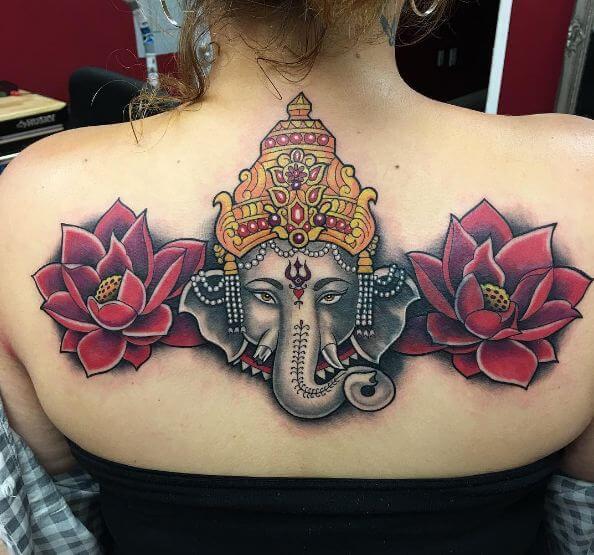 Rose With Ganesha Tattoos