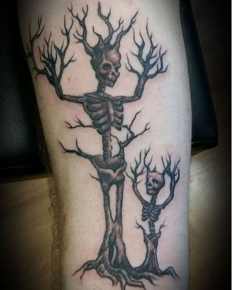 Skeleton Tree Father Son Tattoos Ideas