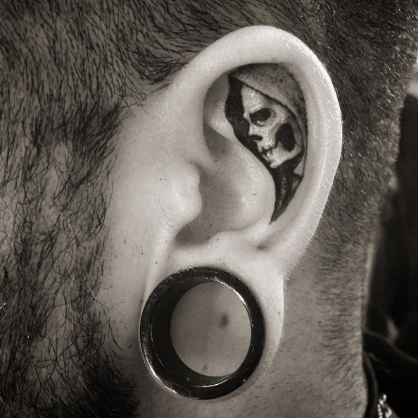 Skull Ear Tattoos