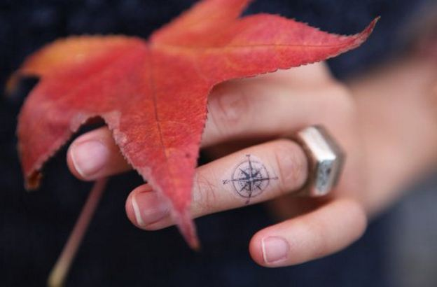 Small Compass Tattoos On Finger