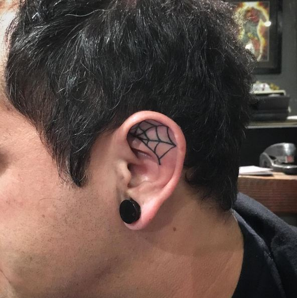 Spider Web Ear Tattoos