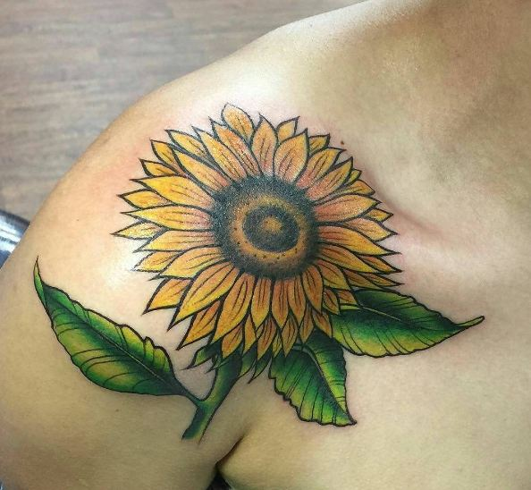 Sunflower Collar Bone Tattoos