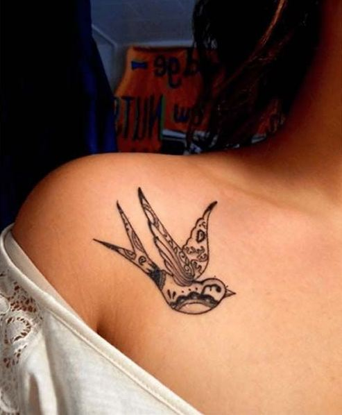 Swallow Collarbone Tattoos