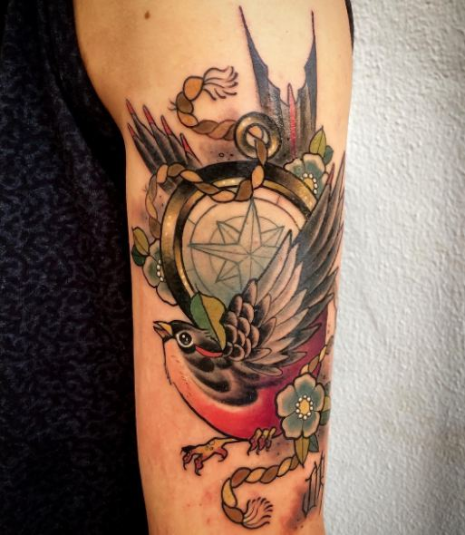 Swallow With Compass Tattoos