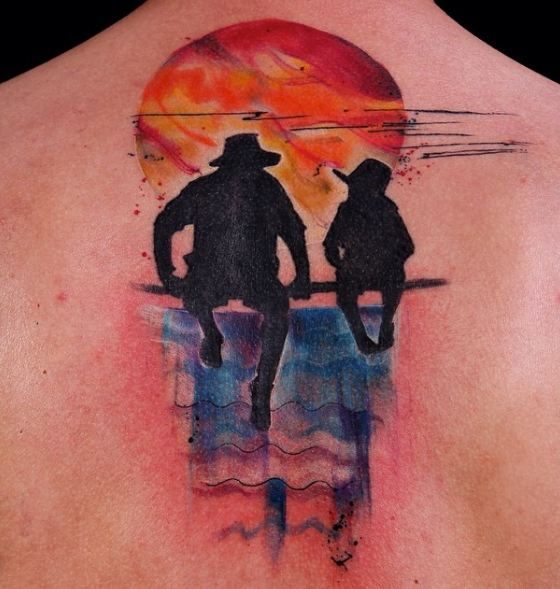 Watercolor Father Son Tattoos