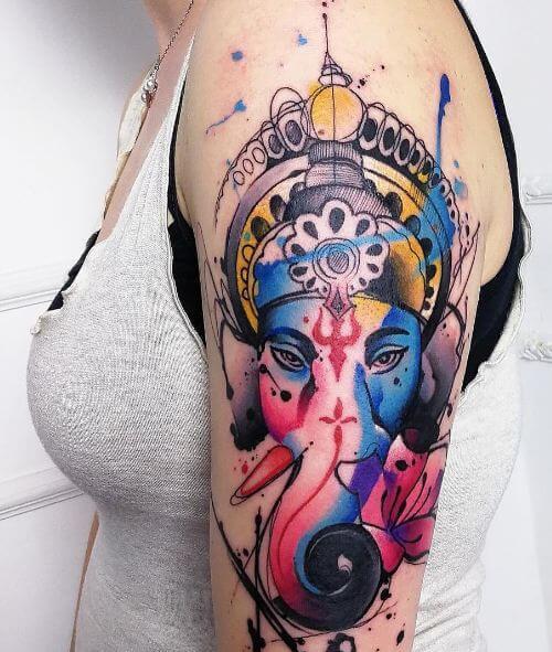 Watercolor Ganesha Tattoos