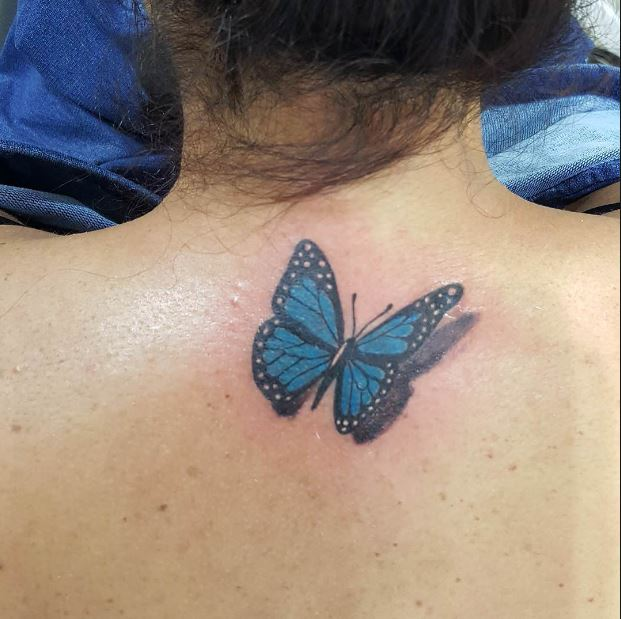 3D Butterfly Back Neck Tattoos Design And Ideas