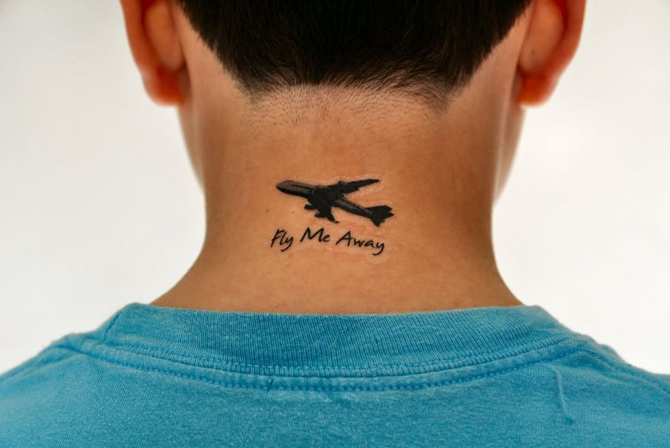 Airplane Back Neck Tattoos Design And Ideas