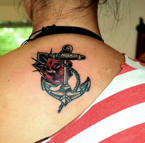 Anchor Back Neck Tattoos Design And Ideas