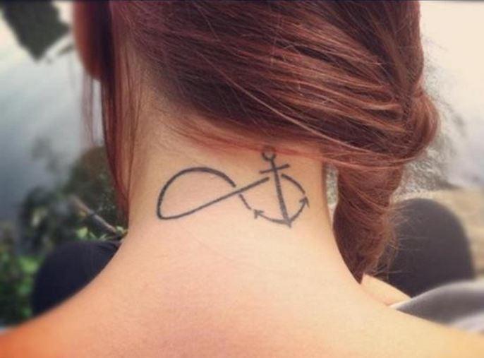 Anchor Infinity Back Neck Tattoos Design