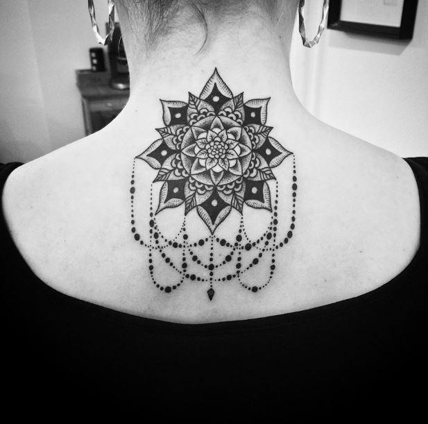 Geometric Back Neck Tattoos Design
