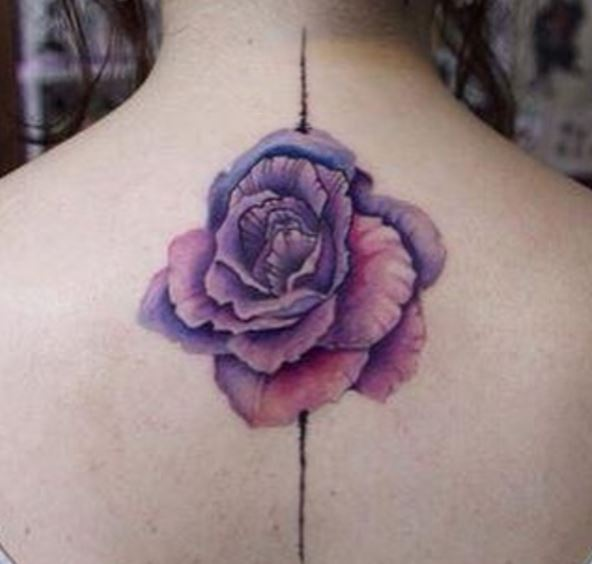 Pink Rose Back Neck Tattoos Design And Ideas