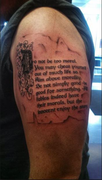 Quote Tattoos Design On Bicep