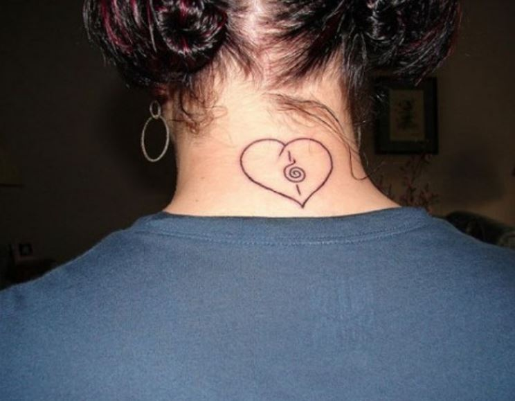 Simple Heart Back Neck Tattoos Design