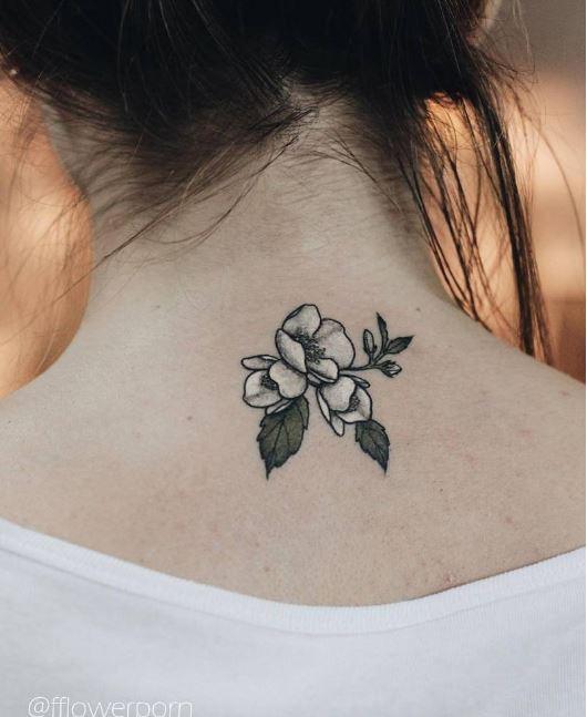 Small Rose Flower Back Neck Tattoos Design